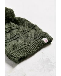 The North Face - Green Triple Cable Pom Beanie - Lyst