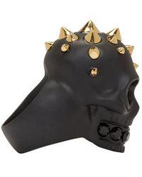 Alexander McQueen - Black Studded Skull Ring for Men - Lyst
