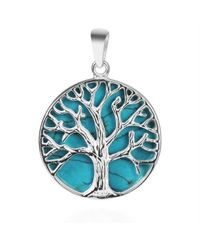 Aeravida | Blue Mystical Tree Of Life Green Turquoise Inlay .925 Sterling Silver Pendant | Lyst