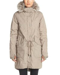 Bench - Gray 'big Timer' Insulated Parka With Faux Fur Trim - Lyst