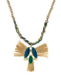 Sam Edelman   Blue Multi Gemstone And Raffia Pendant Necklace   Lyst