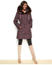 Tahari - Purple Hooded Faux-Fur-Trim Down Puffer Coat - Lyst