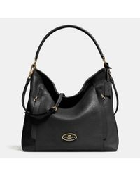 COACH - Black Large Scout Hobo In Pebble Leather - Lyst