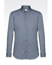 Armani | Gray Slim Fit Shirt In Stretch Poplin for Men | Lyst