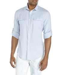 Perry Ellis - Blue Roll Sleeve Sport Shirt for Men - Lyst