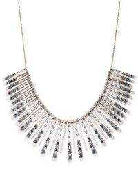 Lucky Brand | Metallic Silver-tone Blue Collar Necklace | Lyst