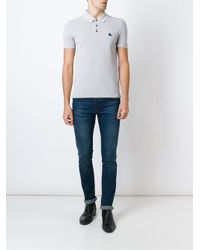 Burberry - Gray Embroidered Logo Polo Shirt for Men - Lyst