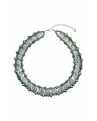 TOPSHOP - Green Facet Bead Necklace - Lyst