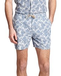 YMC - Blue Astro Star-print Cotton Shorts for Men - Lyst