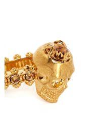 Alexander McQueen | Metallic Crystal Skull Ring | Lyst