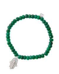 Sydney Evan | Green 6Mm Faceted Emerald Beaded Bracelet With 14K White Gold/Diamond Medium Hamsa Charm (Made To Order) | Lyst