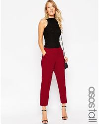 ASOS - Red Tall Ankle Grazer Cigarette Trouser In Crepe - Lyst