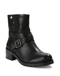 424 Fifth - Black Walcott Leather Ankle Boots - Lyst