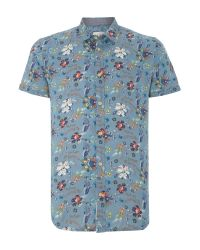 Blend | Blue Print Slim Fit Short Sleeve Classic Collar Shirt for Men | Lyst
