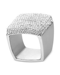 Michael Kors | Metallic Silvertone Crystal Square Ring | Lyst