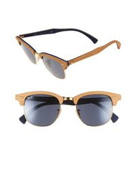Ray-Ban - Natural 'clubmaster' 51mm Polarized Wood Sunglasses for Men - Lyst