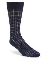 Canali | Blue Grid Pattern Socks for Men | Lyst