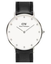 Daniel Wellington Black 'classy Sheffield' Crystal Index Leather Strap Watch