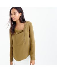 J.Crew | Green Collection Luxe Silk Moto Top | Lyst
