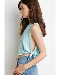 Forever 21 | Blue Side-knot Muscle Tee | Lyst