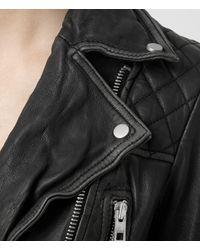 AllSaints - Black Cropped Cargo Leather Biker Jacket - Lyst