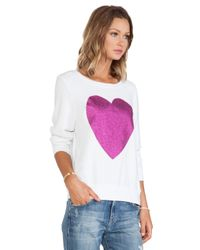 Wildfox - White X Revolve Sparkle Heart Sweater - Lyst