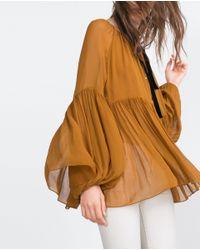 Zara | Brown Voluminous Shirt | Lyst