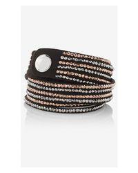 Express - Black Faux Suede Rhinestud Double Wrap Bracelet - Lyst