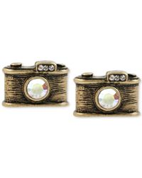 Betsey Johnson | Metallic Gold-tone Camera Stud Earrings | Lyst