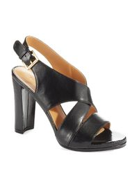 Nine West | Black Wade Leather Pump Sandals | Lyst