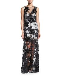 Marc Jacobs - Black Sleeveless Floral-sequined Silk Tulle Gown - Lyst