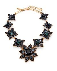 Oscar de la Renta | Blue Jeweled Floral Necklace | Lyst