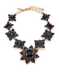 Oscar de la Renta - Blue Jeweled Floral Necklace - Lyst