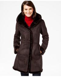 Jones New York | Brown Shawl-collar Faux-shearling Coat | Lyst