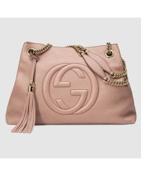 61f5b71ae5f Lyst - Gucci Soho Leather Shoulder Bag in Pink