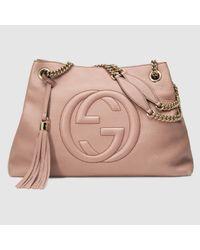 3ff4dfe86c4c Lyst - Gucci Soho Leather Shoulder Bag in Pink