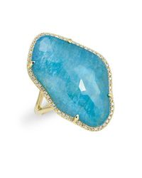 Anne Sisteron | 14kt Yellow Gold Blue Apatite Diamond Triplet Cushion Cut Cocktail Ring | Lyst