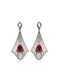 Loree Rodkin | Red Art Deco Spiderweb Earrings | Lyst