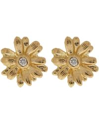 Alex Monroe | Metallic 18ct Gold Diamond Set Teeny Tiny Daisy Stud Earrings | Lyst