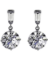 Carat* | White Baguette 2ct Round Drop Earrings | Lyst