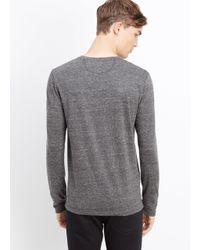 VINCE | Gray Cotton Jaspé Jersey Long Sleeve Henley for Men | Lyst