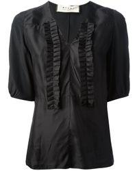 Marni | Black Ruffled Placket T-Shirt | Lyst