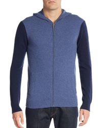 Saks Fifth Avenue | Blue Colorblock Cashmere Hoodie | Lyst