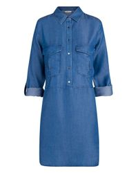 Mango | Blue Tencel Long Blouse | Lyst