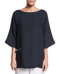 Eskandar - Blue 3/4-sleeve Two-tone Linen T-shirt - Lyst