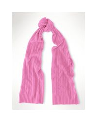 Polo Ralph Lauren   Pink Cable-knit Cashmere Scarf   Lyst