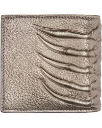 Alexander McQueen - Metallic Pewter Leather Ribcage Wallet for Men - Lyst