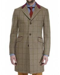 Jules B - Green Wool Tweed Overcoat for Men - Lyst
