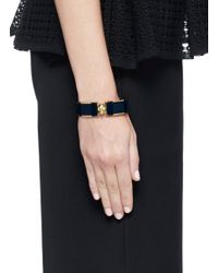 Alexander McQueen - Black Skull Enamel Bangle - Lyst