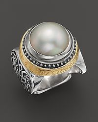 Konstantino | Metallic Sterling Silver And 18K Gold Large Pearl Ring With Greek Inscription | Lyst